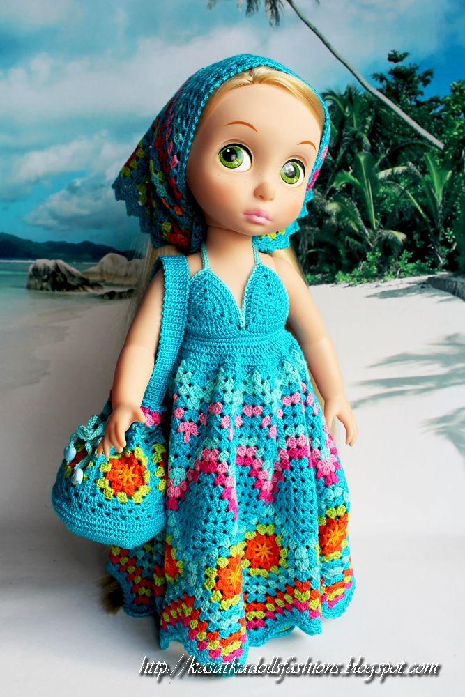 Вязание крючком для кукол: наряд для кукол принцессы Диснея в детстве (Disney Animators) Наряд состоит из сарафана, шали, сумочки, трусиков и туфелек. Связан на основе бабушкиного квадрата из пряжи Ализе форева. Фото Рапунцель и Ариэль от Дисней Аниматорс.