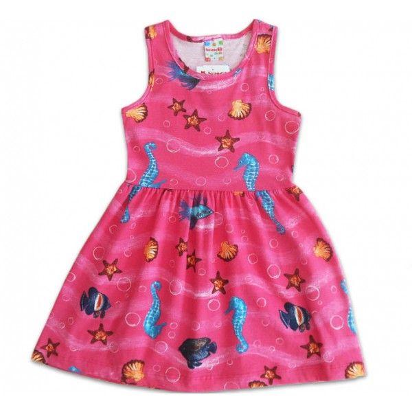 Vestido Infantil Fundo do Mar Rosa