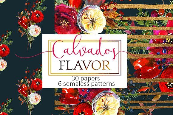 Christmas floral paper pattern pack by whiteheartdesign on @creativemarket