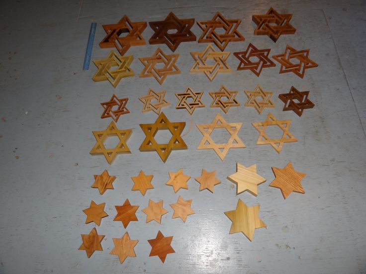 Star of David cut in various sizes and thickness of hard woods--oak--maple--