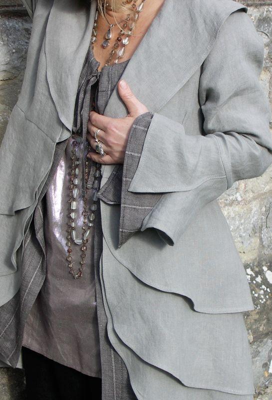 Petal Jacket in linen, over Grace Shirt and vest Top.