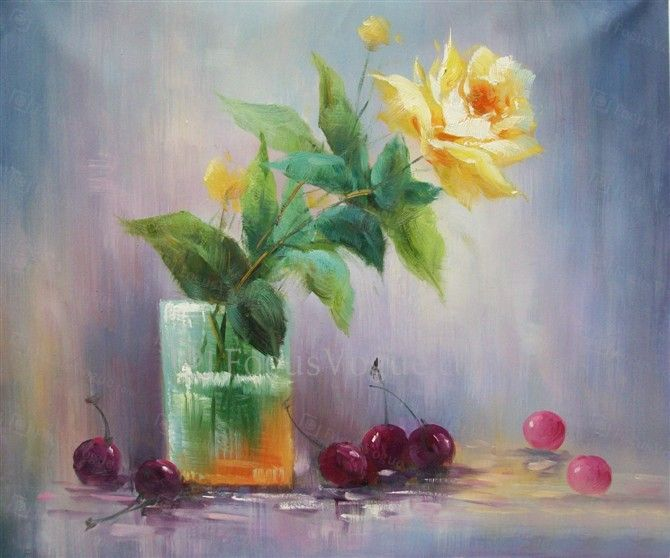 """Flower Hand-painted Oil Painting with Stretched Frame-20"""" x 20"""" - Focus Vogue"""