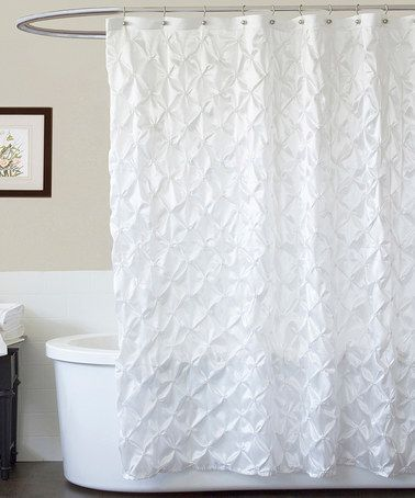 Take a look at this White Quartet Shower Curtain by Lush Décor on #zulily today! $29.99 (RV $67.00) PRODUCT DESCRIPTION: Shower in style with this classy curtain. Showcasing gathered fabric, it gives the guest bathroom a posh backdrop. available in white, purple, or black  72'' x 72'' 100% polyester Dry clean Imported