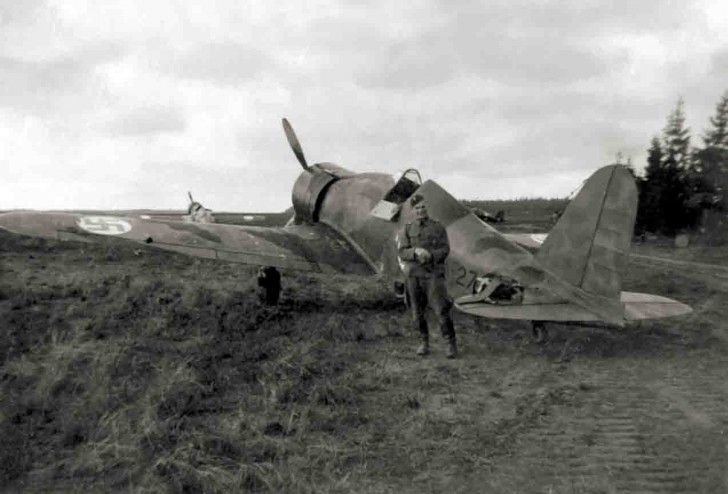 A Finnish pilot poses next to his G-50 fighter (Date and location unknown)