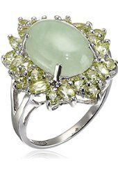 Sterling Silver Green Jade and Peridot Ring, Size 7