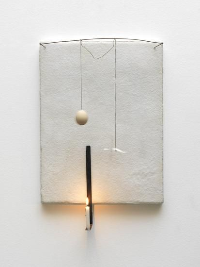 PIER PAOLO CALZOLARI Untitled, 1990 Salt, flannel, copper, cotton yarn, egg, burnt wood, iron, paper, candle, lead