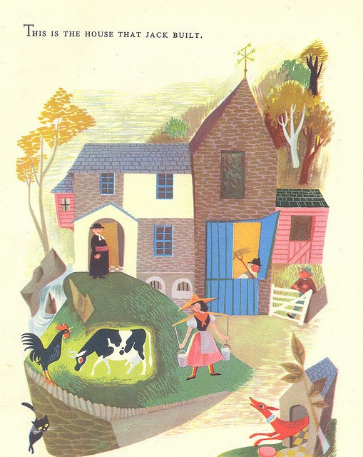 The House That Jack Built A page from a vintage children's book illustrated by Esme Eve, 'Mother Goose Nursery Rhymes' (1958).