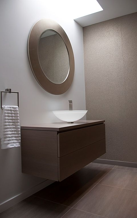 Modern Powder Room with Flush, Vessel sink, Majestic Mirror Contemporary Beveled Round Mirror, Skylight, Powder room