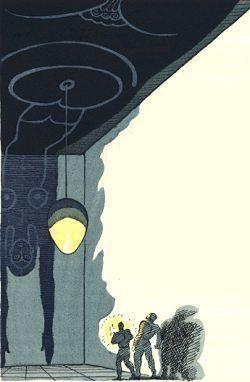 """Salammbô de Gustave Flaubert (1862), chapitre 5 - """"L'appartement où ils entrèrent n'avait rien qu'une peinture noire représentant une autre femme. Ses jambes montaient jusqu'au haut de la muraille. Son corps occupait le plafond tout entier. De son nombril pendait à un fil un oeuf énorme, et elle retombait sur l'autre mur, la tête en bas, jusqu'au niveau des dalles, où atteignaient ses doigts pointus. """""""