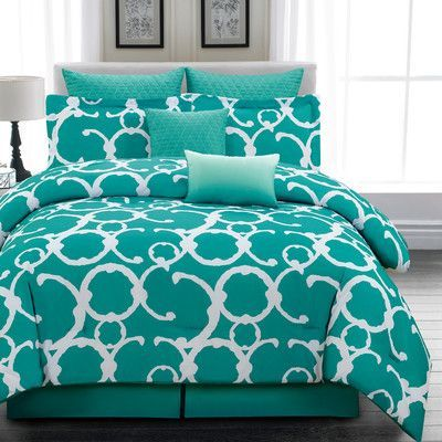 Teal Comforter Set from Wayfair Add a pop of color to your master suite or guest room with this delightful comforter set, featuring a scrollwork design for statement-making style.