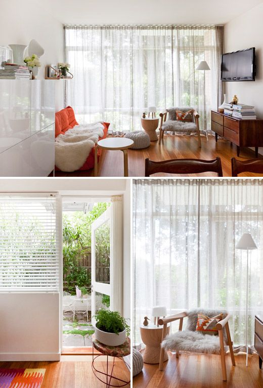 These sheer curtains are beautiful!    Hmmmm ideas...ideas :)