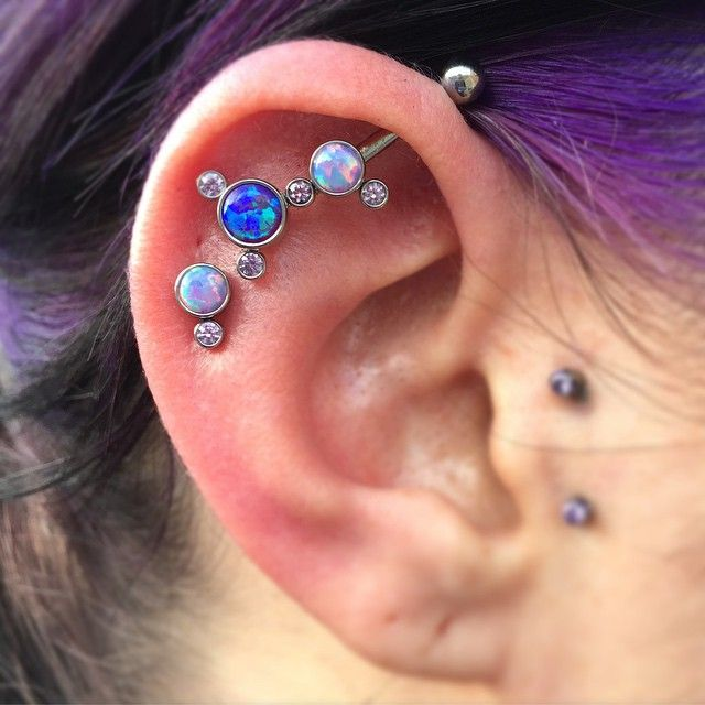 That was so fun to do! It took 3 piercings and 9 pieces to create this very special ear project! Jewelry components feom @anatometalinc and @industrialstrength , done at @empirebodypiercing  #anatometal #industrialstrength #empirebodypiercing