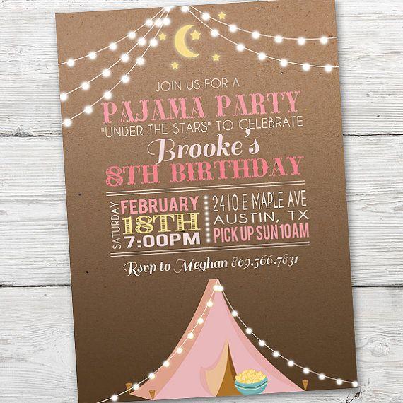 Pink Tent Pajama Party Invitation PRINTABLE Pajama by partymonkey
