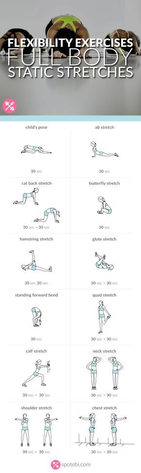 Stretch your entire body with this set of flexibility exercises. A static stretching routine to improve joint range of motion and stretch muscles and tendons. http://www.spotebi.com/workout-routines/flexibility-exercises-full-body-static-stretches/