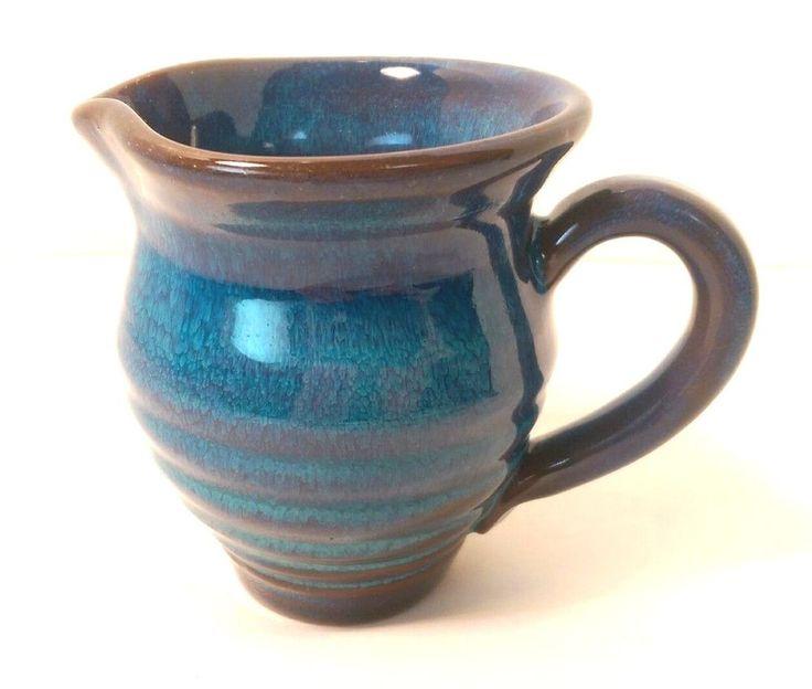 Rackliffe Art Pottery Pitcher Blue Hill Maine CREAMER Blue Glaze Seacoast #pottery #RackliffePottery
