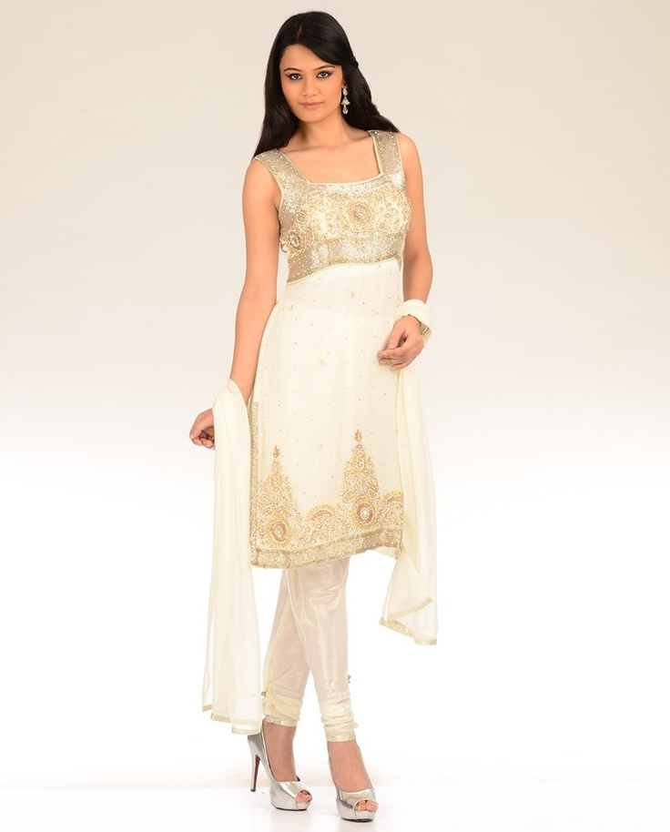 white, silver & old churidar kurti (shorter tunic top)