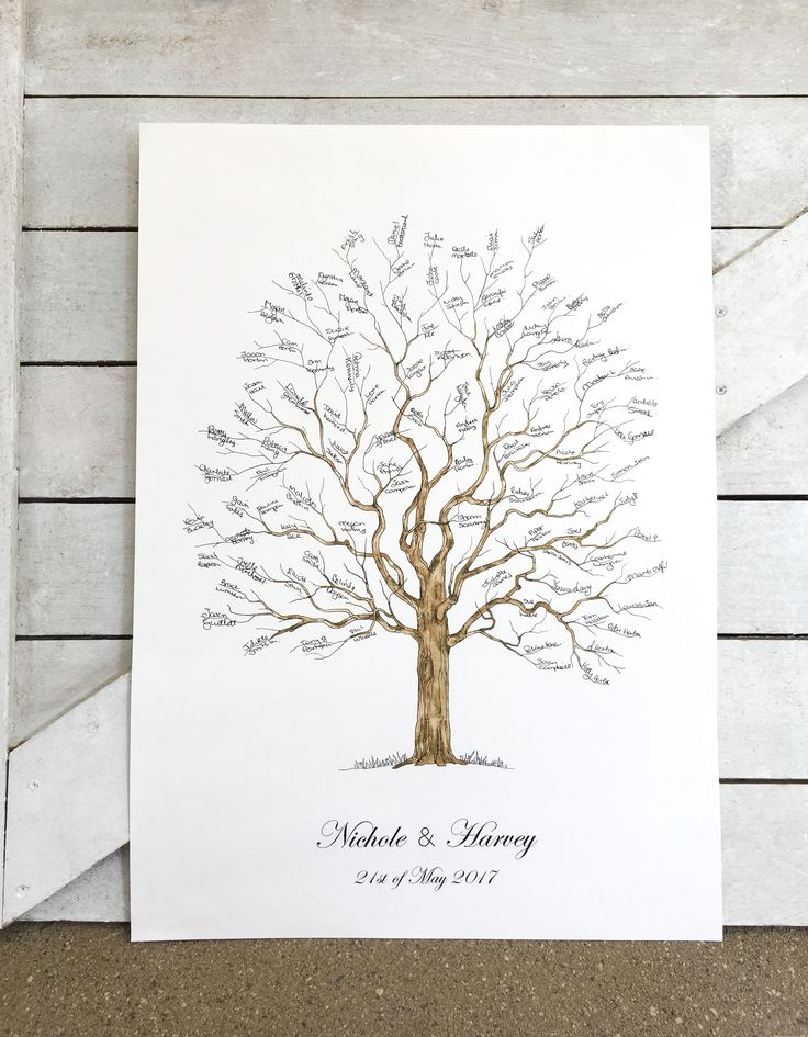 Signature tree - A2 Size Elegant Tree : Watercolour version. A fresh twist on the fingerprint tree guest book. This product still works just as beautifully with only the guest signatures added without the coloured fingerprints..