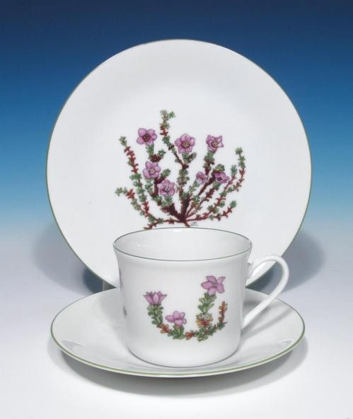 Porsgrund Porcelain Fjellflora Mountain Flower Series Dagny Tande Lid China Trio |