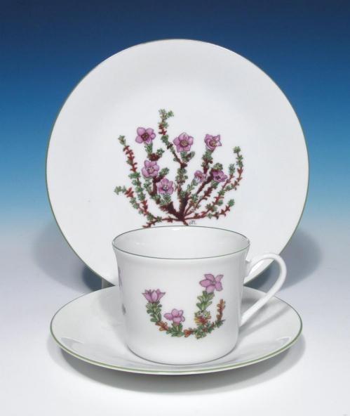 Porsgrund Porcelain Fjellflora Mountain Flower Series Dagny Tande Lid China Trio  