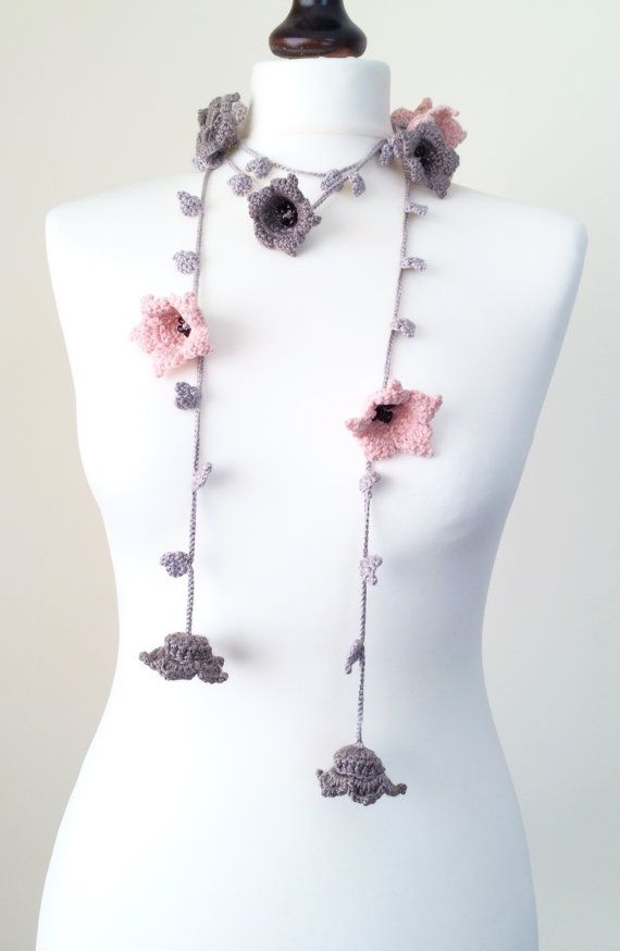 Flower Scarf Crochet Necklace Pink and Gray Flowers by ReddApple