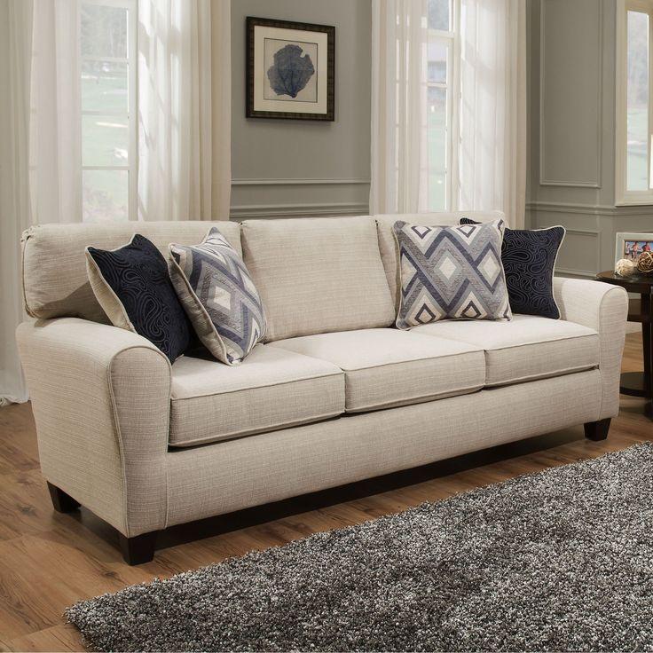 Sofab Madison Cream (Ivory) Sofa With Accent Pillows (Cream) (Fabric)