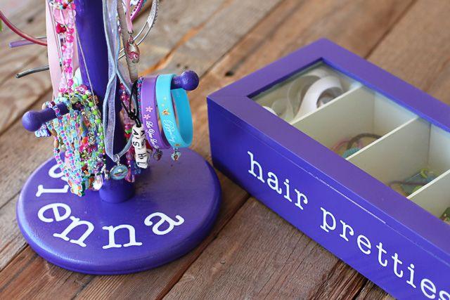 Thrift store pieces made into accessory organizers via lilblueboo.com... Tutorial