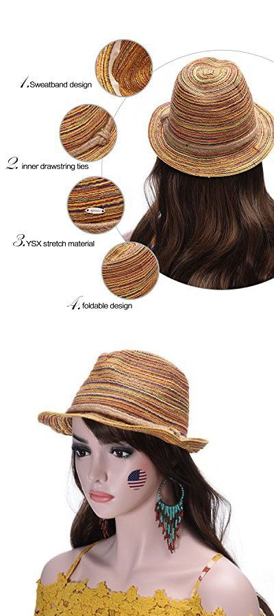 7ad642e6 Adjustable Multicolor Woven Pattern Short Brim Fedora Hat UPF50+ | Sun Hats  | Pinterest | Hats, Fedora hat and Sun hats