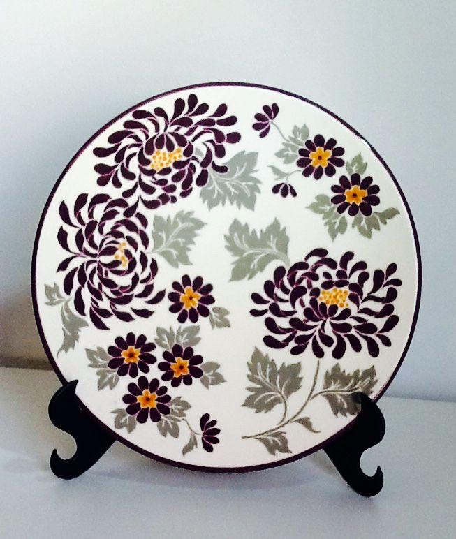 Prato floral lilás e cinza ... Plate - Studio Seramik
