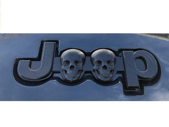 Jeep Emblem Logo Custom Black Human Skull 3d Printed Pla Grand Cherokee Wk2 Jk Jeep Cherokee Jeep Emblems Cherokee