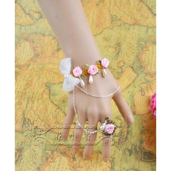 Princess Sweet Lolita jewelry Romantic pink rose white bow pearl beads... ❤ liked on Polyvore featuring jewelry, bracelets, lace jewelry, pink jewelry, flower jewelry, rose jewellery and pink bangles