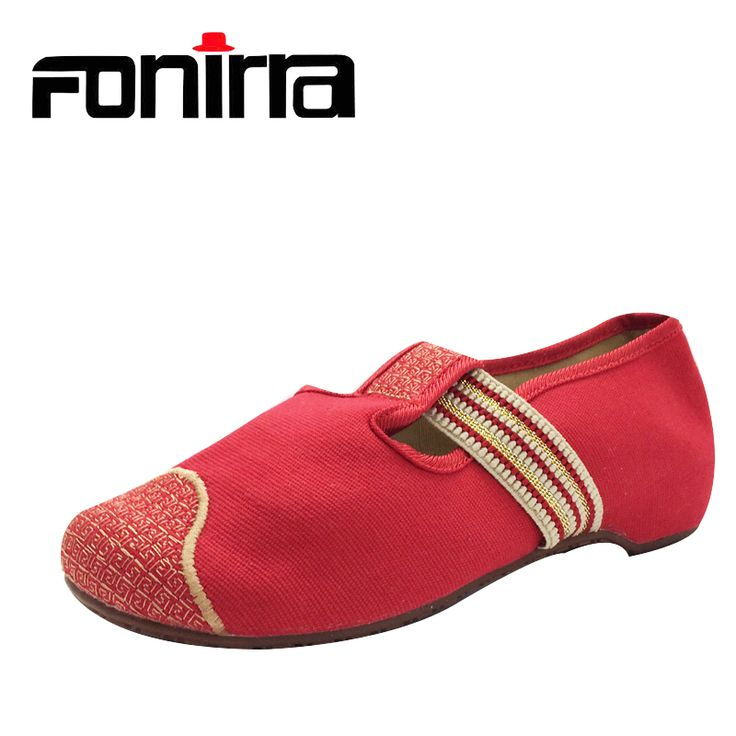 FONIRRA 2017 New Women Old Peking Flats Chinese Embroidery Canvas Shoes  Casual Women Round Toe Shoes 011 #Affiliate