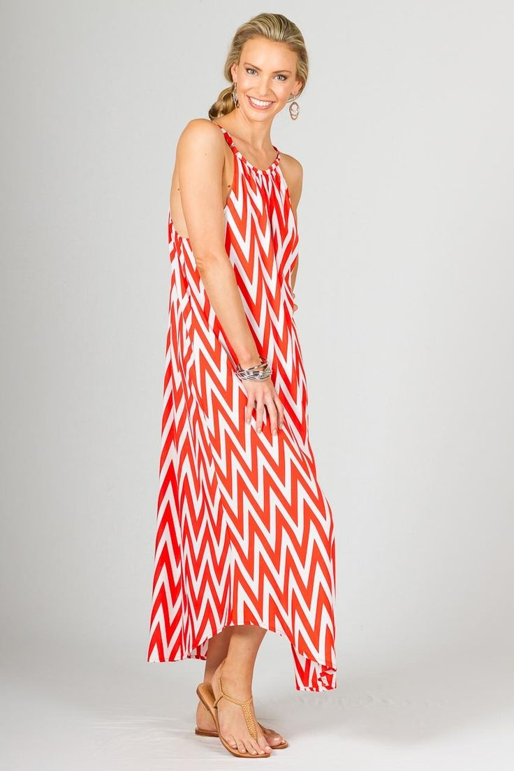 """Aruba Maxi Dress, Orange Chevron - A Summer Staple - Paper Scissors Frock  This is a summer staple. One size fits standard ladies 8-16. The Aruba Maxi Dress has adjustable straps & rounded hem and also looks great belted to make it a little dressier. This frock is reasonably low under the arms. Free Size. Made from Rayon.  Pictured Model 5'9"""""""