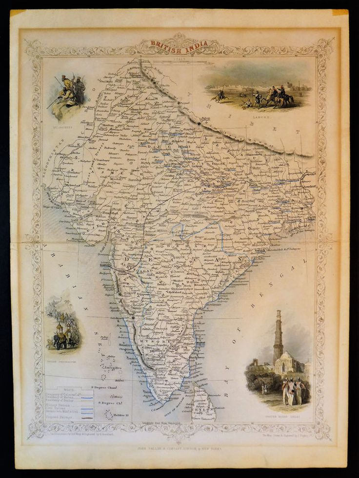 Mapa London%0A c      JOHN RAPKIN  ORIGINAL ANTIQUE MAP  BRITISH INDIA  FOR JOHN TALLIS  ATLAS