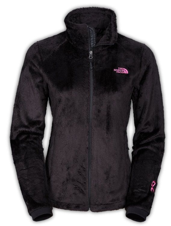 The North Face Pink Ribbon Osito Jacket - Women's Fuzzy Fleece Coat for Ladies in TNF Black