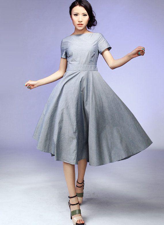 Gray midi Dress cotton Fit and Flare prom dress gray by xiaolizi