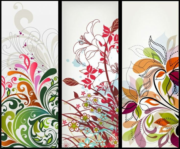 BANNER / Free vector Vector banner Vector Vertical Floral Banners