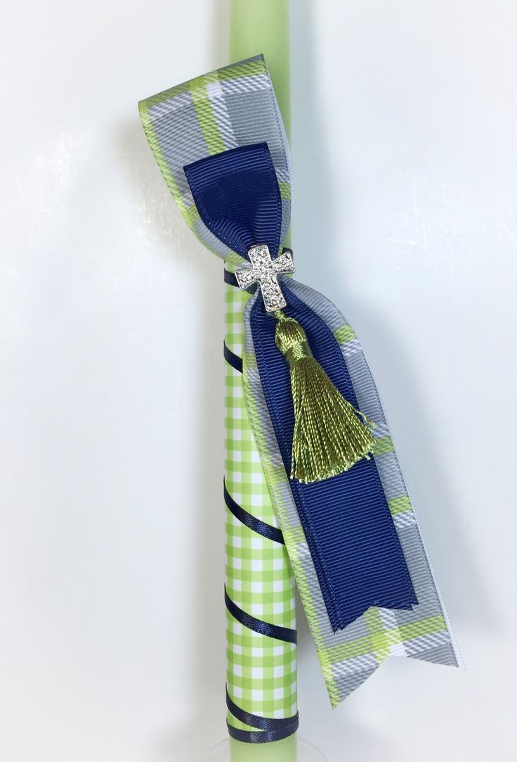 Green Plaid - Greek Easter Candle (Lambatha) by EllinikiStoli on Etsy https://www.etsy.com/listing/220108894/green-plaid-greek-easter-candle-lambatha