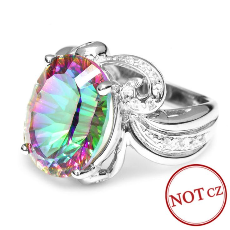 Luxury Cocktail Ring 9.5ct Genuine Rainbow Fire Mystic Topaz Only $59.99 => Save up to 60% and Free Shipping => Order Now! #Bracelets #Mystic Topaz #Earrings #Clip Earrings #Emerald #Necklaces #Rings #Stud Earrings