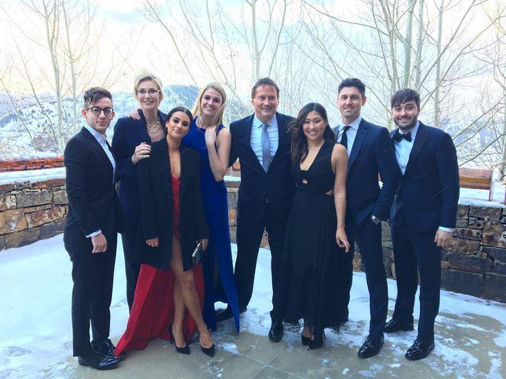 Kevin McHale, Jane Lynch, Lea Michele, Meg Doyle, Michael Hitchcock, Jenna Ushkowitz, Matthew Hodgson and Dante Russo celebrating Becca Tobin's wedding