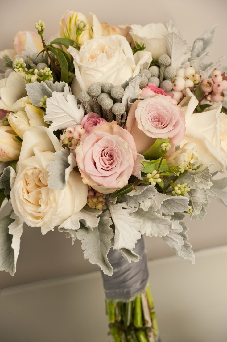 Again with the lovely foliage, and beautiful soft colours.: Bridal Bouquets, Wedding Flower Bouquets, Wedding Bouquets, Color Patterns, Soft Color, Beautiful Soft, Pink Grey, English Rose, Bridesmaid Bouquets