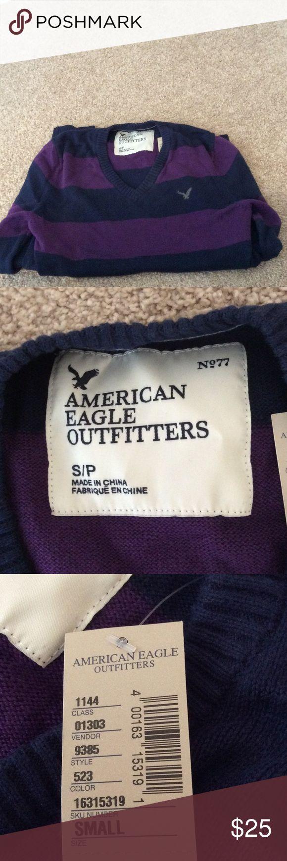 NWT AMERICAN EAGLE MENS V NECK SWEATER NWT American Eagle mens v neck long sleeve sweater size small in dark blue and dark purple stripes. Sweater is 100% cotton. American Eagle Outfitters Sweaters V-Neck
