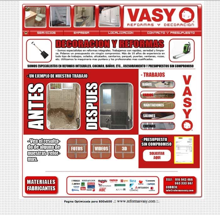 Web Reformas Vasy (HTML + PHP + FLASH)