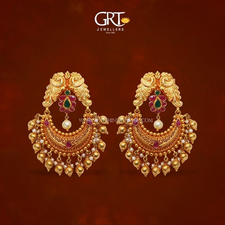 Gold Chandbali Earrings from GRT, 22K Gold Chanbdali Earrings Designs from GRT, Gold Earrings Designs from GRT.
