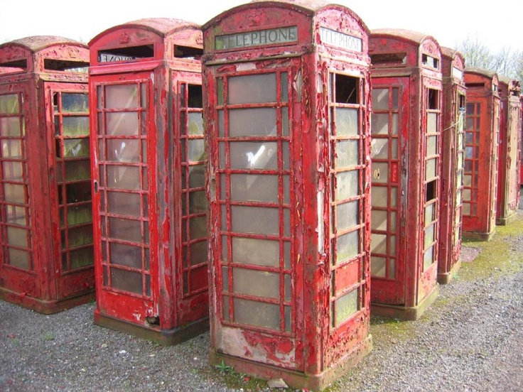 Old English telephone booths - one of these would look so good in the garden!