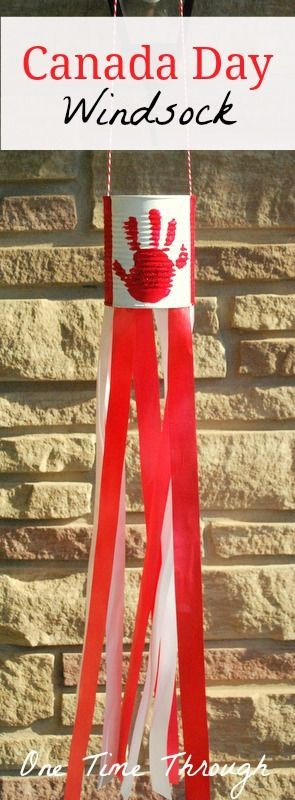 Make a Canada Day windsock craft with your kids to decorate the front porch and celebrate our wonderful country! {One Time Through}