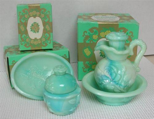 Vintage Avon Victoriana Pieces Soap Dish Pitcher Bowl