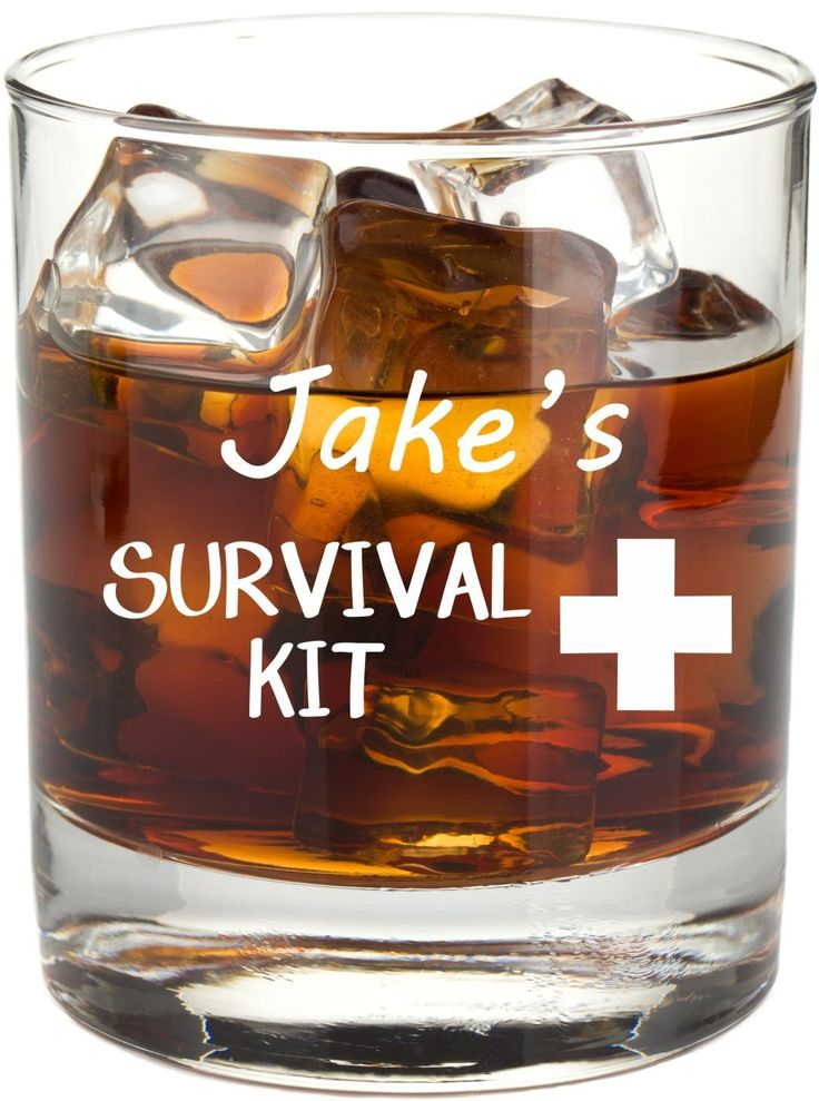 Personalized Survival Kit Whiskey Glass - Funny Whiskey Glass, Permanently Etched, Gift for Dad, Co-Worker, Friend, Boss, Christmas - RG14-C. Item Details... ~ Personalization with any name is included ~ MADE IN AMERICA from durable, quality glass featuring a heavy base ~ Choose an 8 oz or 11 oz glass to hold your favorite whiskey, scotch or bourbon ~ Engraving is on one side of the glass ~ Etching is permanent and DISHWASHER SAFE! (because there are better things to do than the dishes) ~...