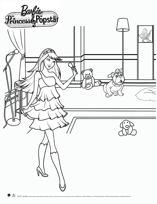 Coloring Pages Barbie Rockstar : Barbie the princess and popstar coloring sheet