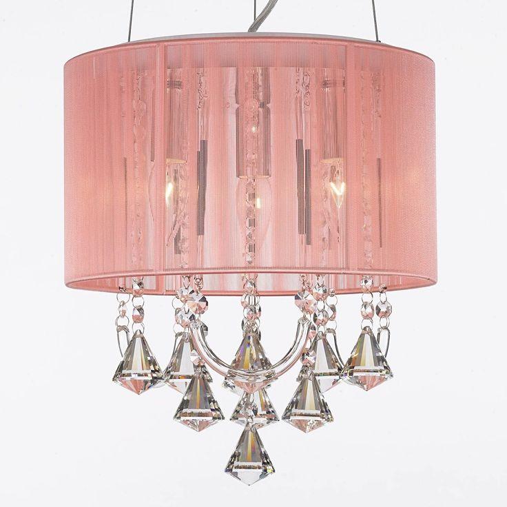 Crystal Chandelier Chandeliers Large Pink Shade Lighting Fixture Pendant