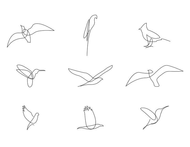 Addillum oiseaux d'une ligne   – Small tattoos